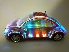 Transparent mini usb crystal car speaker, usb TF FM mini led crystal speaker