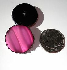 """Acrylic Button Shimmer Layers Deep Rose Pink 1"""" handcrafted shank sew or pin on"""
