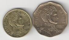 2 NICE COINS from CHILE - 10 & 50 PESOS (BOTH DATING 2013)