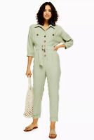 Topshop Mint Cupro Belted Utility Boiler Suit All In One Jumpsuit Dress 6 to 16