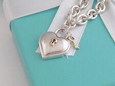 Tiffany Co Silver 18K Gold Heart Key Hole Padlock Necklace