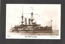 REAL-PHOTO POSTCARD:  HMS EMPRESS OF INDIA - BRITISH NAVY BATTLESHIP - Mailed