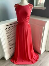 COAST RED EMBELLISHED MAXI FULL LENGTH EVENING DRESS SIZE UK 16 VGC