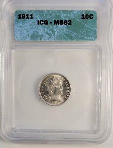 1911 Barber Dime ICG MS62