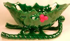 Lefton Green Holly Sleigh Vintage Christmas Holiday Decoration Red Berries 1346