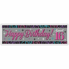 "65"" Giant Classic Sweet 16 Happy 16th Birthday Party Banner Decoration"