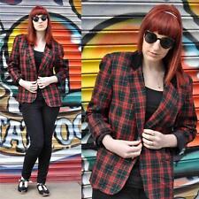 VINTAGE Red Tartan Wool Blend Blazer Jacket 12 Preppy Velvet Collar Plaid