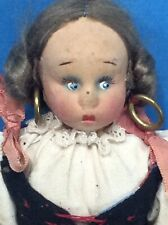 Antique CLOTH FABRIC Cute Painted FACE Human Hair Dutch DOLL DETAILED w Earrings