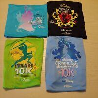 Lot of 4 Run Disney Princess 2017-19 Enchanted Authentic Race Shirts Women's M