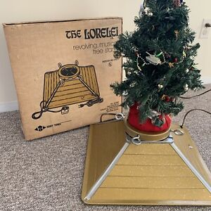 WORKS! Vintage Lorelei Revolving Musical Christmas Tree Stand Gold Retro 70s