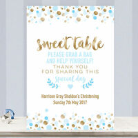 Personalised Sweet Table Sign for Christening Party Blue & Gold Confetti SB4