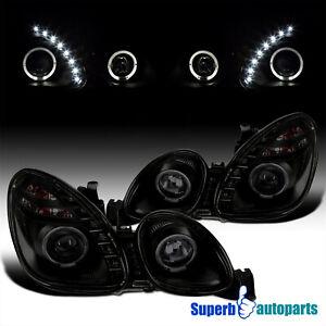 For 2001-2005 Lexus GS400 98-00 GS300 Black Smoke LED Halo Projector Headlights