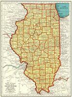 1939 Vintage ILLINOIS Map Original Antique State Map of Illinois Wall Art #7160