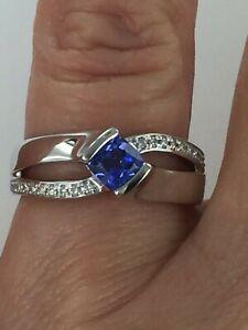 18kt Gold 1.3 CTW AAA Tanzanite & Diamond Ring Size 7.75 $1999 Retail