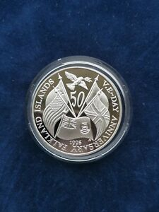 50p 1995 VE-Day Silver Proof World War Coin Falkland Islands
