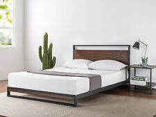 Zinus Ironline Metal and Wood Platform Bed with Headboard / Wood Slat Support