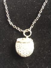 """Coconut Drink TG215 Fine English Pewter On 24"""" Silver Plated Curb Necklace"""