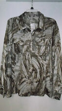 Chico's Women's Animal Print Long Sleeve Sleeve Button Down Shirt Tops & Blouses