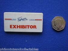 London Fashion Exhibition  ' Exhibitor  '  pin badge   c1980