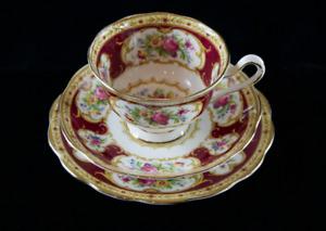 "1939-45 rare Royal Albert CROWN CHINA ""Lady Hamilton"" Trio beautifully preserved"