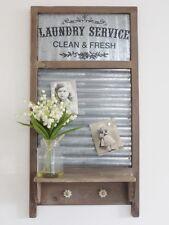 Vintage Industrial Shabby Chic Washboard Shelf Magnetic Memo Notice Board Hook