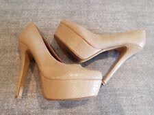 New Look size 5 (38) camel colour faux snakeskin leather platform stiletto heels