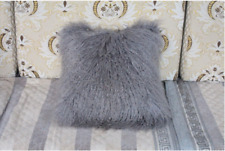 100% Real Mongolian Lamb Wool Fur Pillowcase 40x40cm Seat Cushion Protector Gray