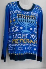 """New w/Tag~Sz S~""""COME ON BABY LIGHT MY MENORAH""""~Knit-in Design~Acr/Cttn Sweater"""