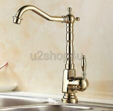 Luxury Gold Color Brass Single Handle Kitchen Sink Faucet Mixer Basin Tap Ugf056
