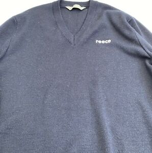 Reece Plumbing Blue Navy Long Sleeve V-neck Jumper Size 16 wool blend EUC Tradie