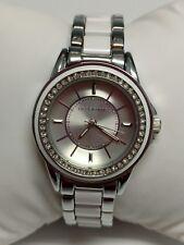 B045 Jcpennys Liz Claiborne Watch silver tone &  white band rhinestone accents