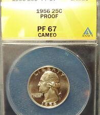1956 ANACS Proof 67 BLACK & WHITE CAMEO Washington Quarter~Wholesale~Trends $70