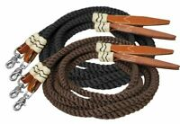 Showman 8' Braided/Rolled Nylon Split Reins w/ Rawhide/Leather Poppers