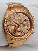 Ladies CARAVELLE By Bulova Rose Gold Tone Crystal Accent Chrono Watch 44L117