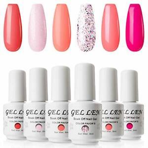 Gellen Glitter Gel Nail Polish Colours Gift Set UV LED Gel Nail Varnish 6