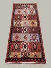 Vintage Turkish Kilim 369x160 cm Tribal Kelim Rug Large Pink, Blue, Beige, Black