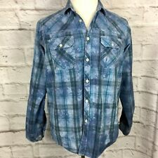 Eighty Eight Men's M Blue Plaid Button Front Long Sleeve Shirt