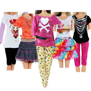 5 Cute Outfits Fashion Daily Dress Blouse Vest Pants Skirts for 11.5 inch Doll