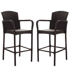 2 PCS Rattan Wicker Bar Stool Dining High Counter Chair Patio Furniture Armrest