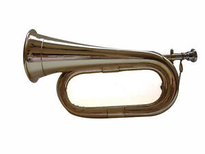 Professional Army Bb Tune-able Tunable Bugle Brass Solid Plated with Hard Case