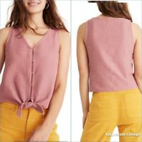 MADEWELL Texture & Thread Button-Front Tank Top Tie Front Pink Womens XXS