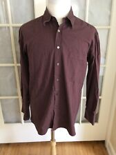 Luciano Barbera Men's Size 17 1/2 Burgundy Herringbone Long Sleeve Button Up