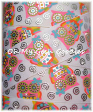 1.5 SWIRL BLING BRIGHT OWLS GROSGRAIN RIBBON WHAT A HOOT RARE EDITION WISE 4 BOW
