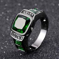 Emerald Cut Size 8,9,10,11 Man's Black 18K Gold Filled AAA Emerald Wedding Rings