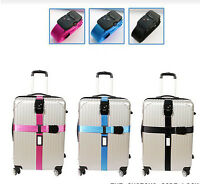 Adjustable Strong Duty Belt Cross Outdoor Travel Suitcase Strap Lock With Safety