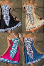 Ladies  Mini Boob Tube Top Dress Tube-dress Size 10 12 14 16 Summer Beach Party