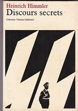 Heinrich Himmler Discours secrets ( guerre parti solution etc ) livre Ed 1978