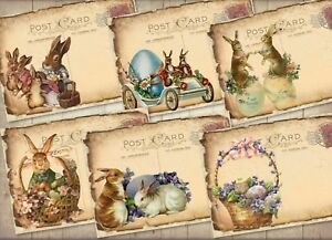 6  Easter Victorian Image Vintage Style Tatty Post Cards With Cream Envelopes