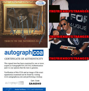 Rare PUFF DADDY signed TRIBUTE TO NOTORIOUS BIG CD COVER Proof P DIDDY ACOA COA