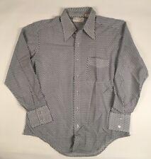 VINTAGE 70s Marlboro Shirt Nylon Atomic Rockabilly Disco BLUE Mens L Large SHEER
